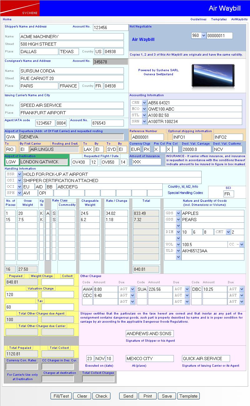 Air Waybill Interface Screenshot